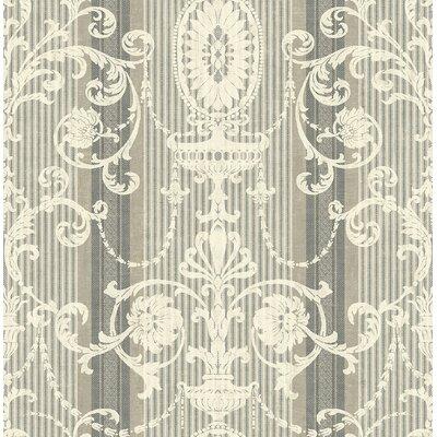 """Astoria Grand Tinney Victorian Striped Scroll 32.81' L x 20.5"""" W Wallpaper Roll"""