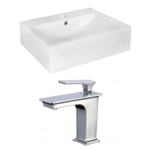 Best Price Above Counter Ceramic Rectangular Vessel Bathroom Sink with Faucet and Overflow ByRoyal Purple Bath Kitchen