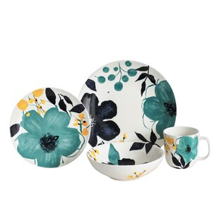 Bella Floral 16 Piece Dinnerware Set, Service for 4