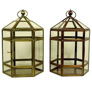World Menagerie Classic Glass/Metal Lantern (Set of 2)