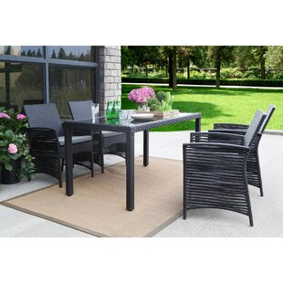 Bay Isle Home Clyde Backyard Steel Frame 5 Pieces Dining Set with Cushions