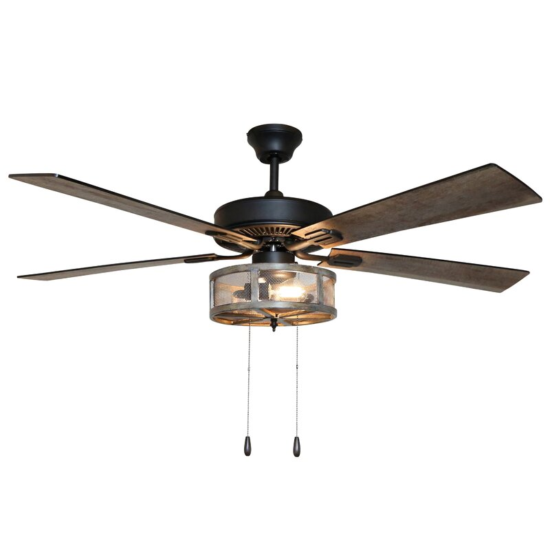 17 Stories 52 Abbigail 5 Blade Caged Ceiling Fan With Light Kit Included Reviews Wayfair
