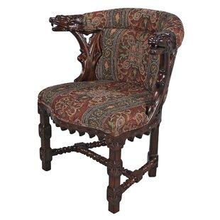 Design Toscano Kingsman Manor Dragon Fabric Barrel Chair