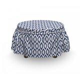 Ikat Eastern Ornament 2 Piece Box Cushion Ottoman Slipcover Set by East Urban Home