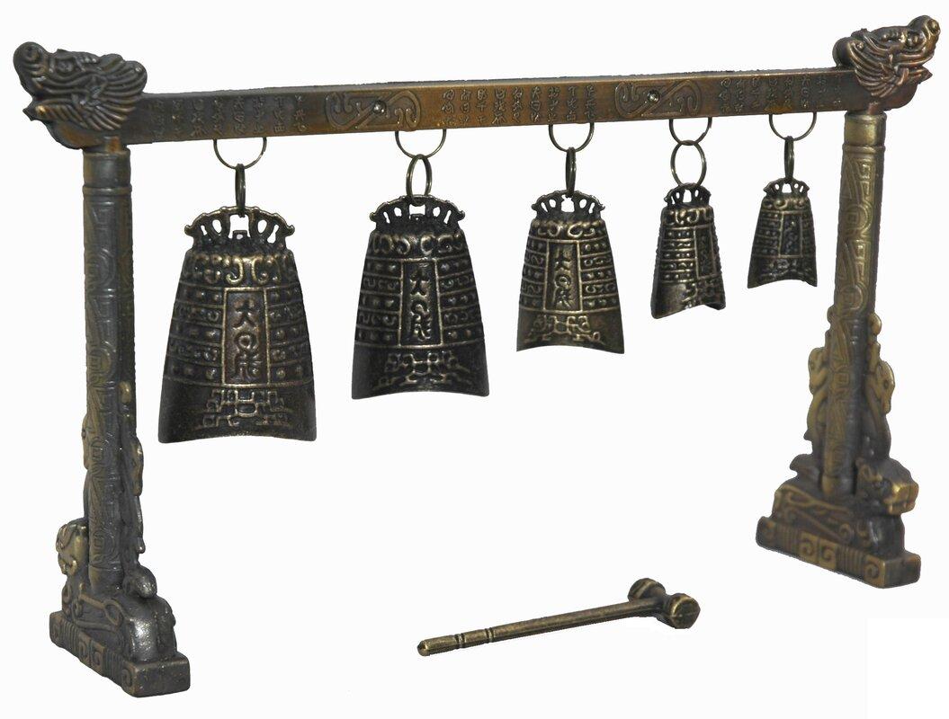 Tibetan Five Decorative Bell Gong Sculpture