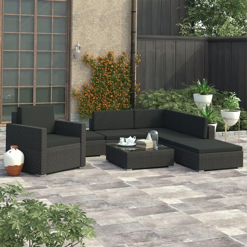 Orren Ellis Pomodoro Garden Lounge 6 Piece Rattan Sectional Seating Group With Cushions Wayfair