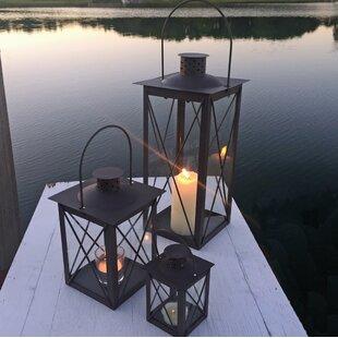 3 Piece Iron and Glass Lantern Set