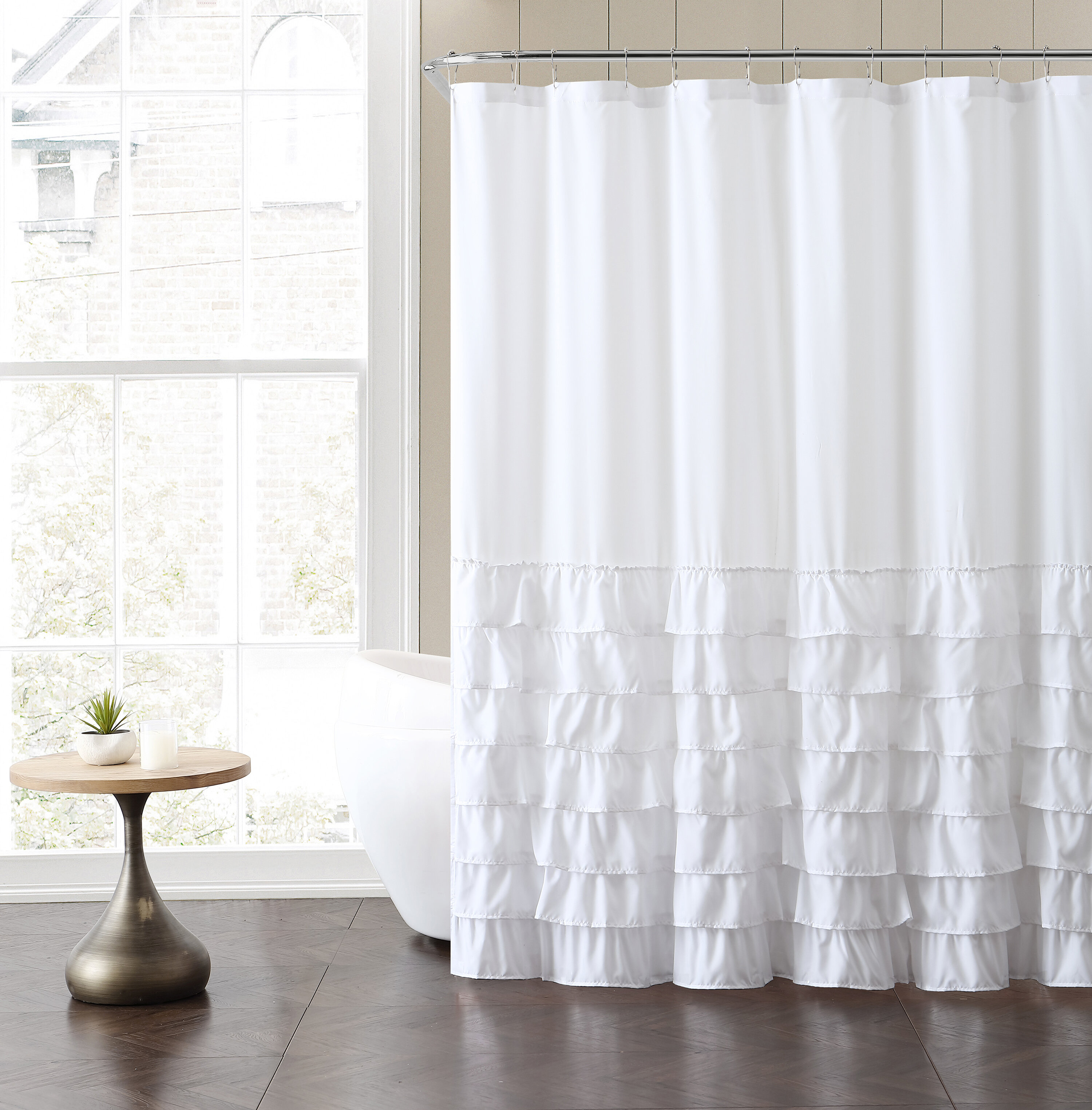 Ruffled White Shower Curtains Shower Liners You Ll Love In 2021 Wayfair