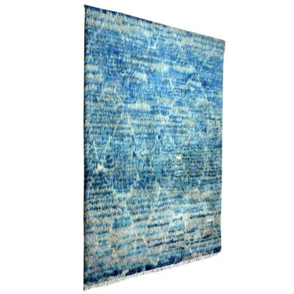 Breakwater Bay Branden Shaggy Berber Beni Ourain Moroccan Hand Knotted Wool Blue Beige Rug Wayfair Co Uk