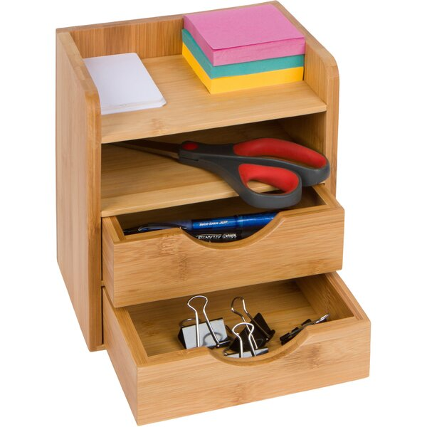 Attrayant Rebrilliant 4 Tier Mini Bamboo Desk Organizer With Drawers | Wayfair