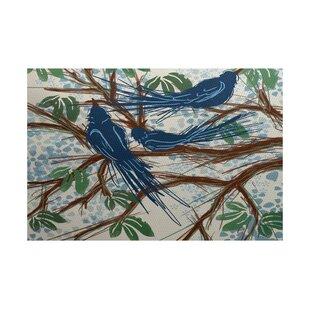 Ingaret Flatweave Blue Outdoor Area Rug