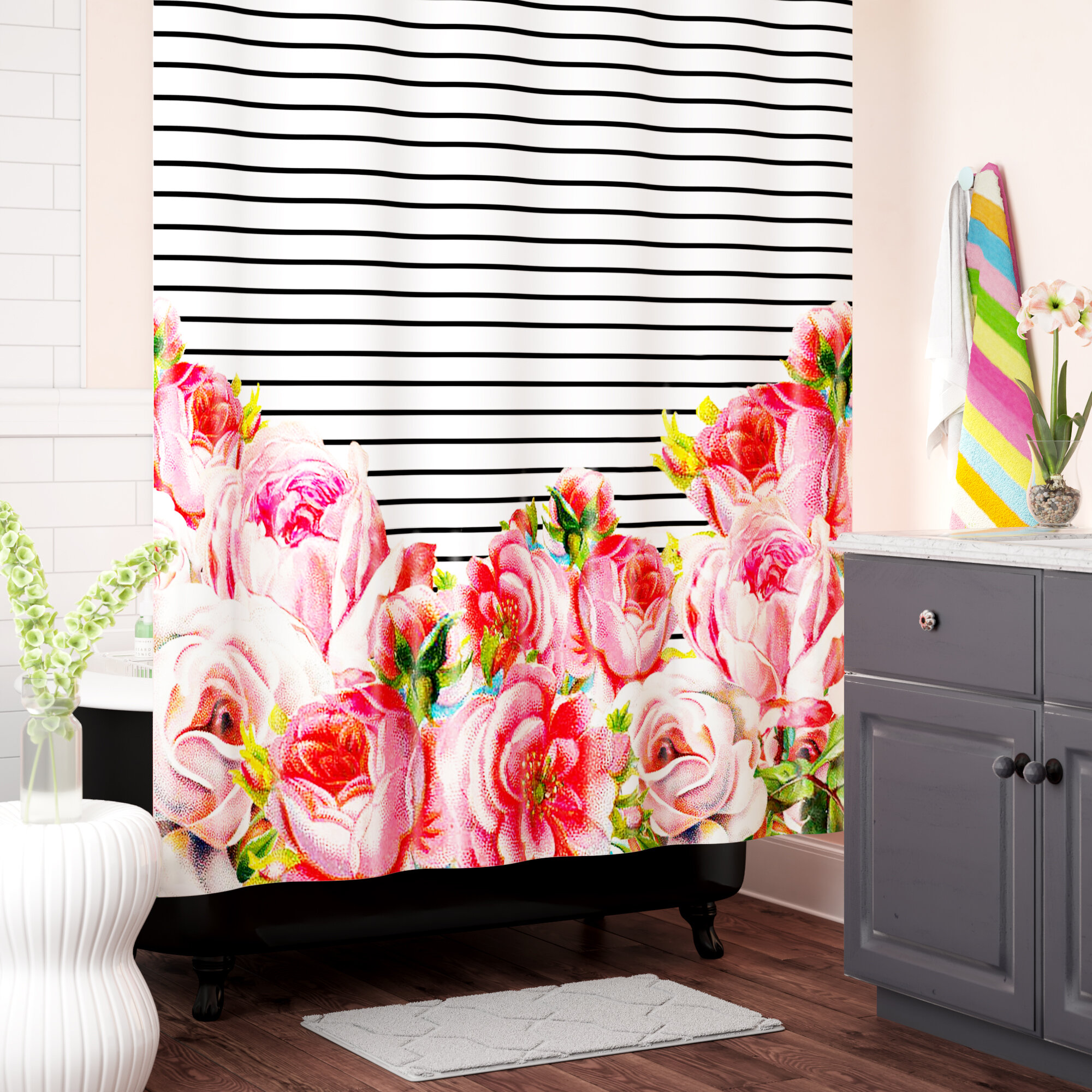 Deleon Bold Floral And Stripes Polyester Single Shower Curtain