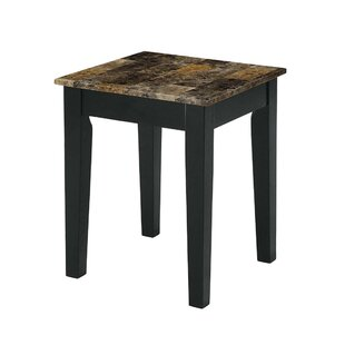 Montezuma Marble Top Wooden Base End Table by Fleur De Lis Living