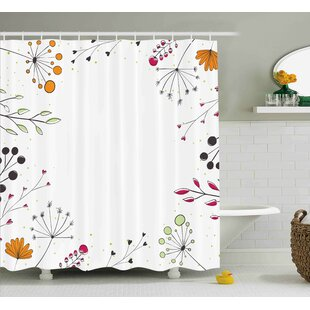 Prussia Geometric Flowers Floral Shower Curtain ByRed Barrel Studio