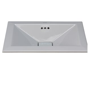 Ronbow Pyramid Ceramic Rectangular Drop-In Bathroom Sink with Overflow