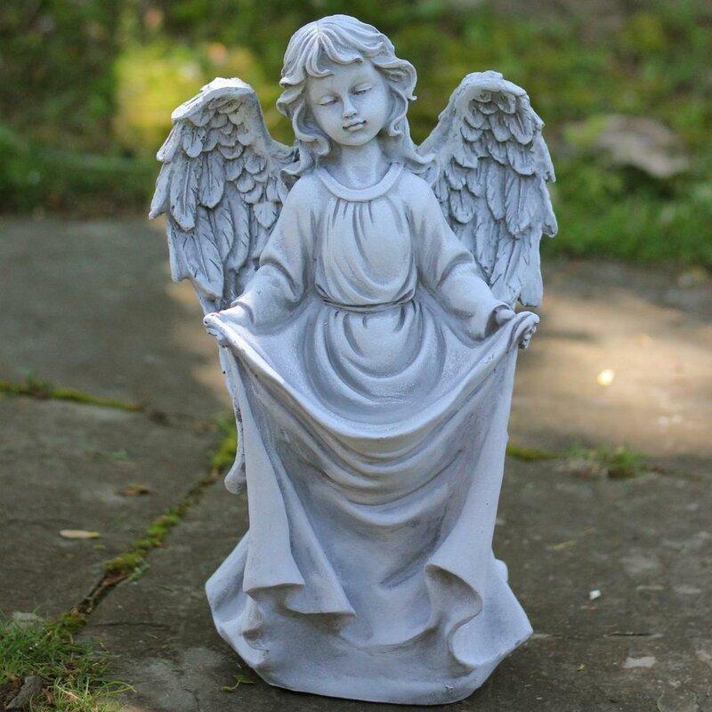 Lovely Northlight Stone Angel Bird Feeder Garden Statue | Wayfair QP69