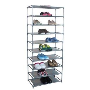 Home Basics 30-Pair Non Woven 10-Tier Shoe Rack