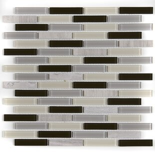 Review Gibson 0.63 x 3 Natural Stone and Glass Mosaic Tile in Evening Sky by Itona Tile