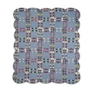 August Grove Moana Denim Double Wedding Ring Quilt