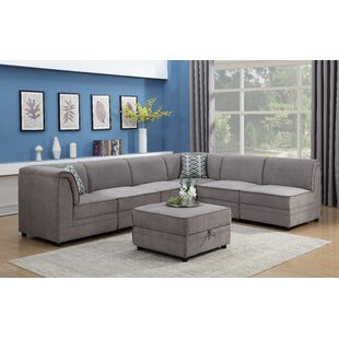 Alcott Hill Hallatrow Reversible Modular Sectional with Ottoman