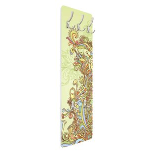 Floral Illustration Wall Mounted Coat Rack By Symple Stuff