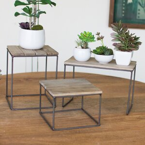 Gracie Oaks Hughes Top Riser 3 Piece Nesting Tables