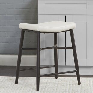Seidl Saddle Upholstered Stationary Backless 24 Bar Stool