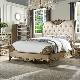 Chingford Tufted Solid Wood and Upholstered Sleigh Bed