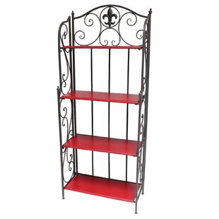 De Leon Collections Fleur De Lis Wrought Iron Baker's Rack