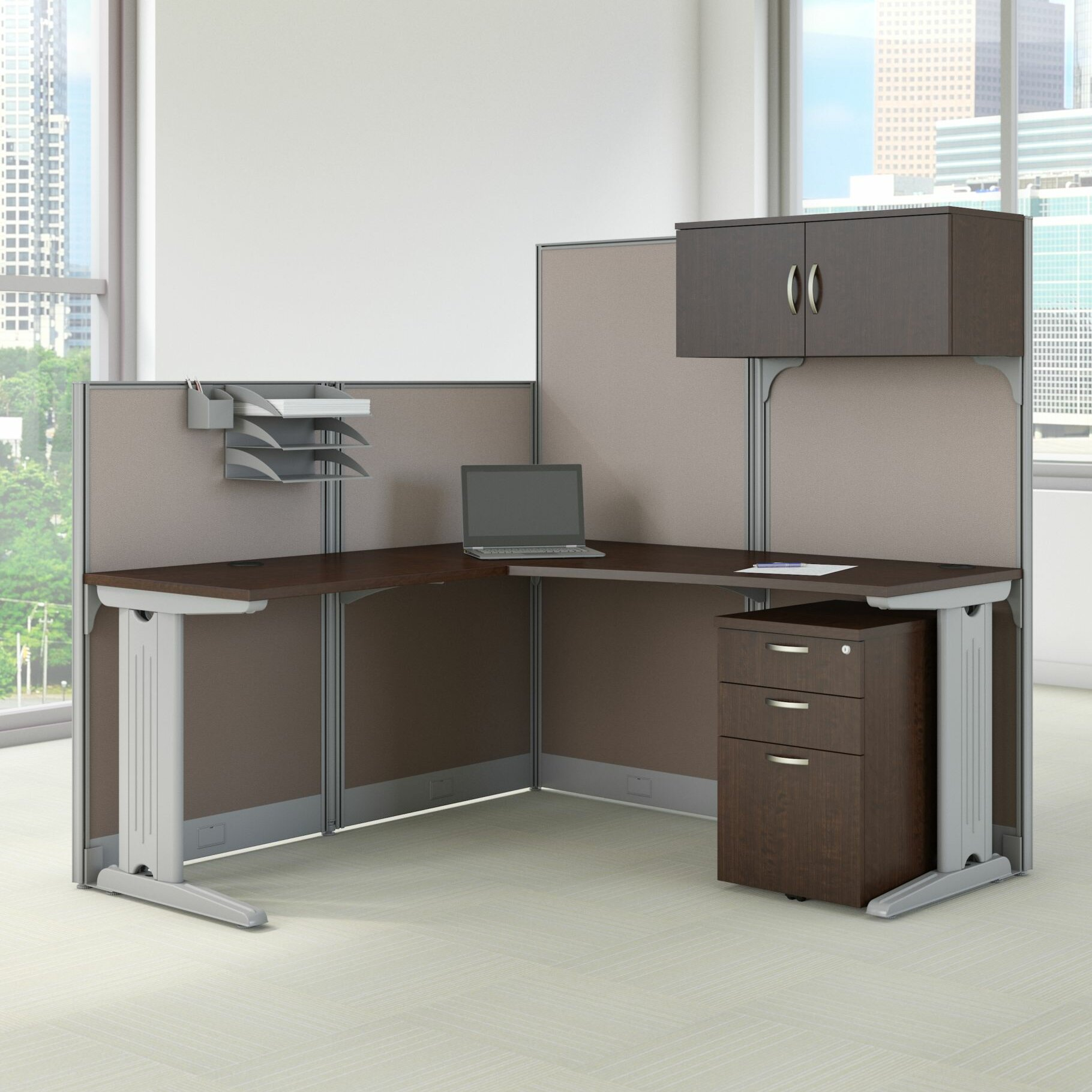 Bush Business Furniture Office In An Hour L Shaped Cubicle Workstation Reviews Wayfair