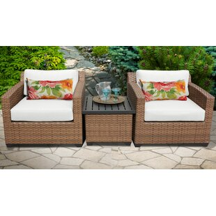 Rosecliff Heights East Village 3 Piece Rattan Sectional Set with Cushions