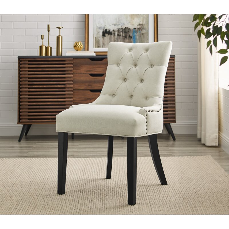 Red Barrel Studio Rihamna Tufted Linen Upholstered Side Chair Wayfair