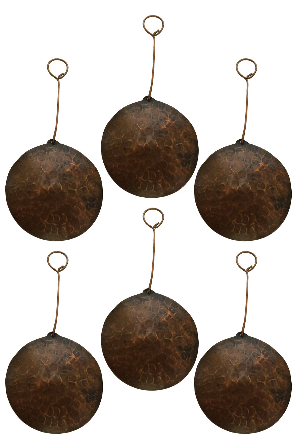 Copper Christmas Ornaments.Hand Hammered Round Copper Christmas Ornament