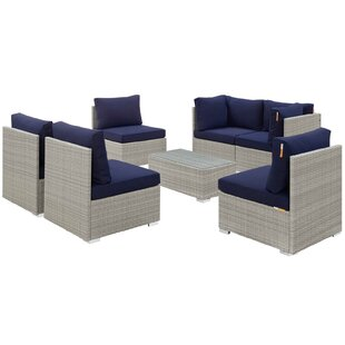 Heinrich 7 Piece Rattan Sunbrella? Sectional Set with Cushions by Highland Dunes