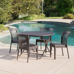 Orren Ellis Shantay Outdoor Wicker 5 Piece Dining Set