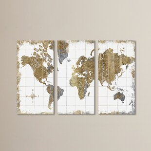 World map wall art gilded map graphic art print multi piece image on canvas gumiabroncs Gallery