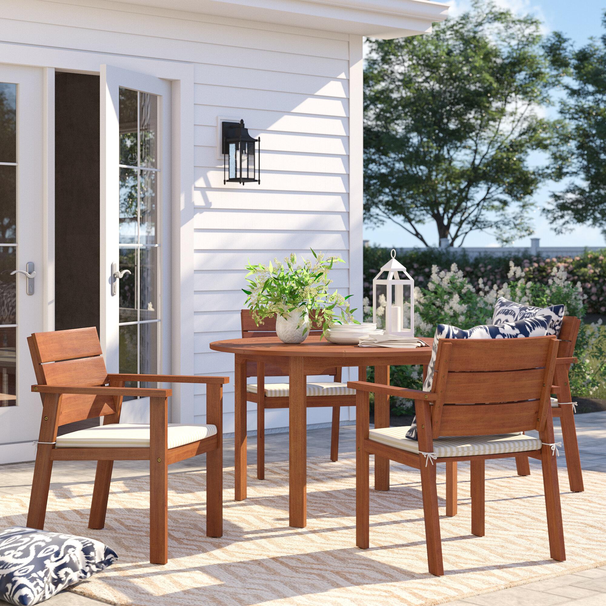 Sol 72 Outdoor Brighton 5 Piece Eucalyptus Dining Set With Cushions Reviews Wayfair