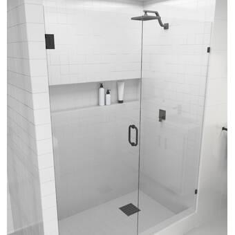Glass Warehouse 57 5 X 78 Hinged Frameless Shower Door Reviews Wayfair