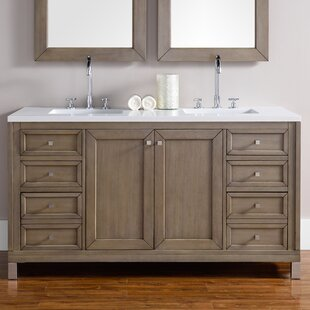 Valladares 60 Double White Washed Walnut Stone Top Bathroom Vanity Set by Brayden Studio