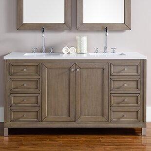 Valladares 60 Double White Washed Walnut Wood Base Bathroom Vanity Set by Brayden Studio
