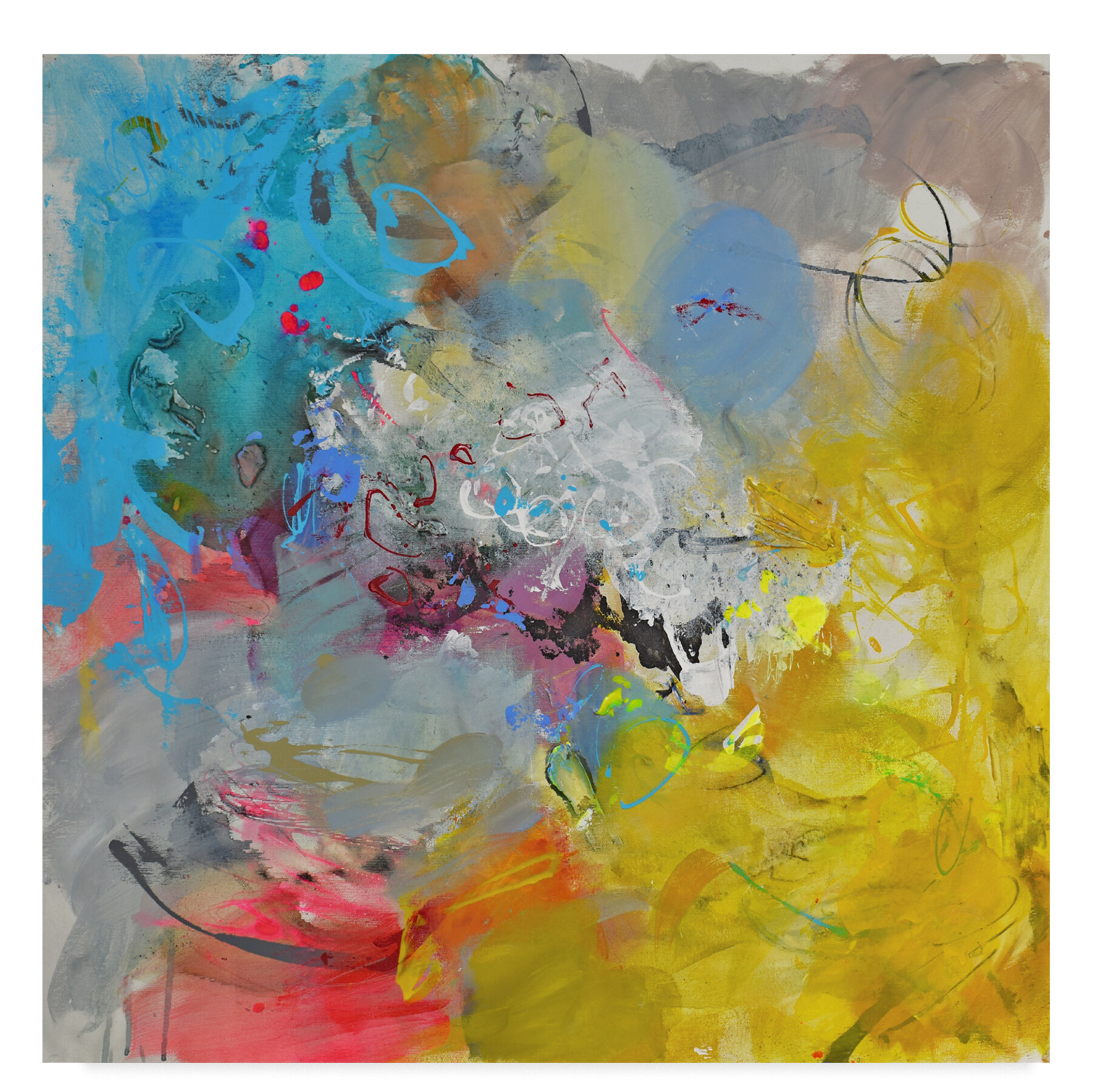 Trademark Art Colorful Paint Acrylic Painting Print On Wrapped Canvas Wayfair