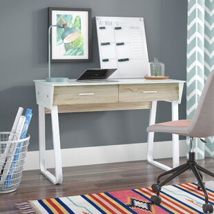 Porter Glass Top Writing Desk by Wrought Studio
