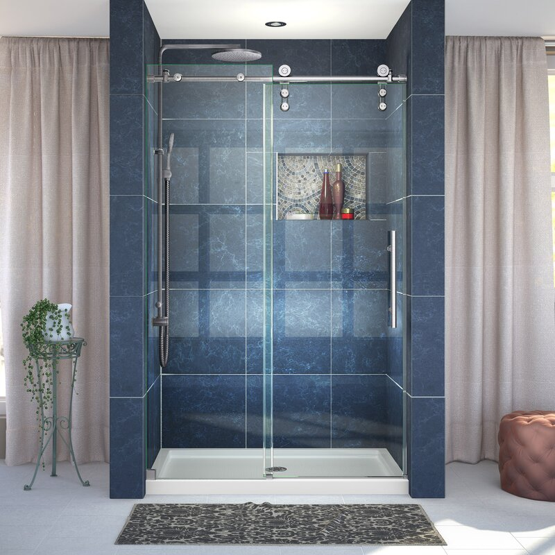 Dreamline enigma z 76 x 48 single sliding frameless shower door enigma z 76 x 48 single sliding frameless shower door with clearmax eventshaper