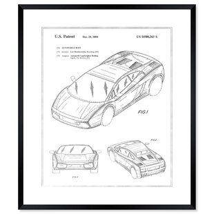 'Lamborghini Gallardo 2004 Silver' Framed Graphic Art Print By Williston Forge