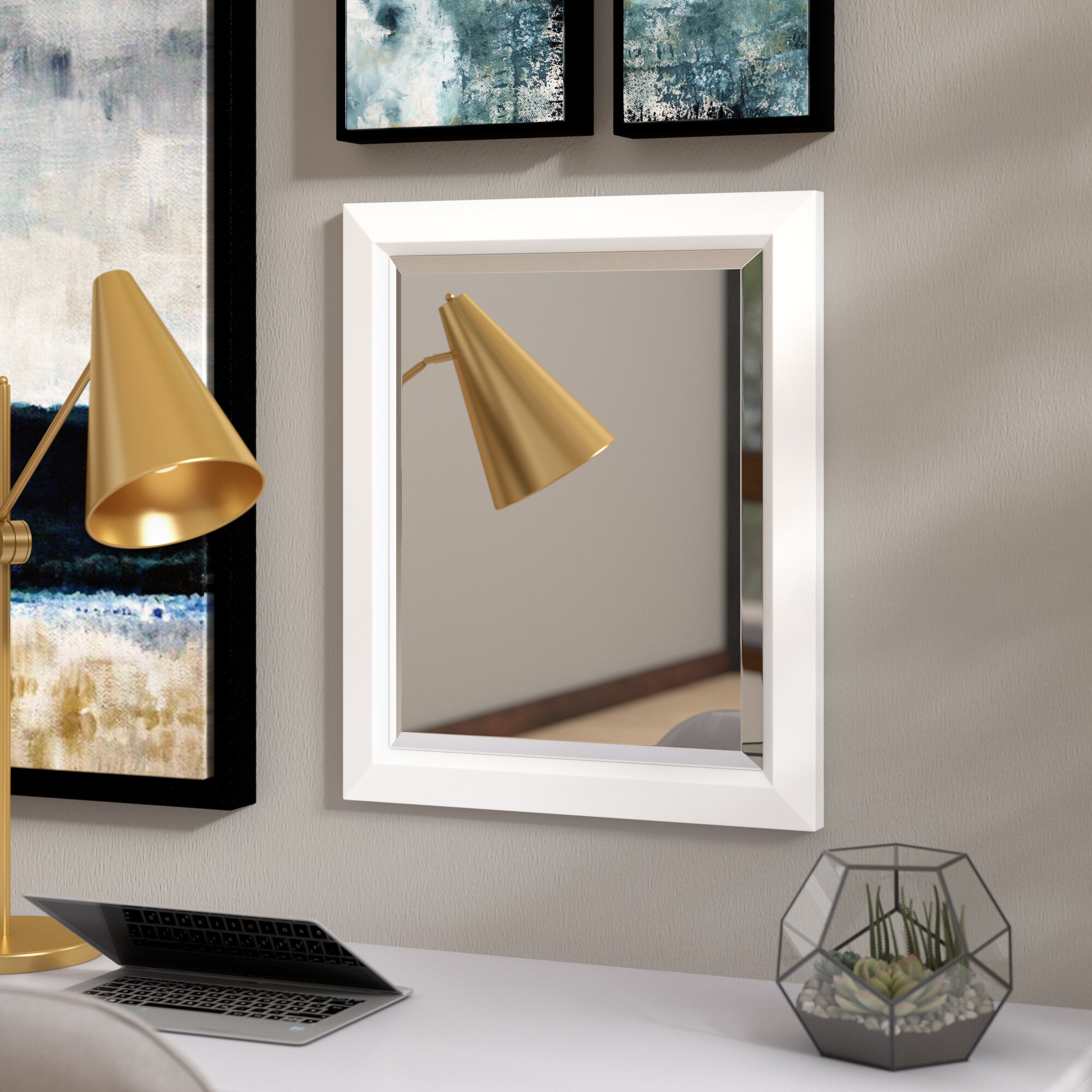 Latitude Run Retangle White Angled Accent Wall Mirror Wayfair