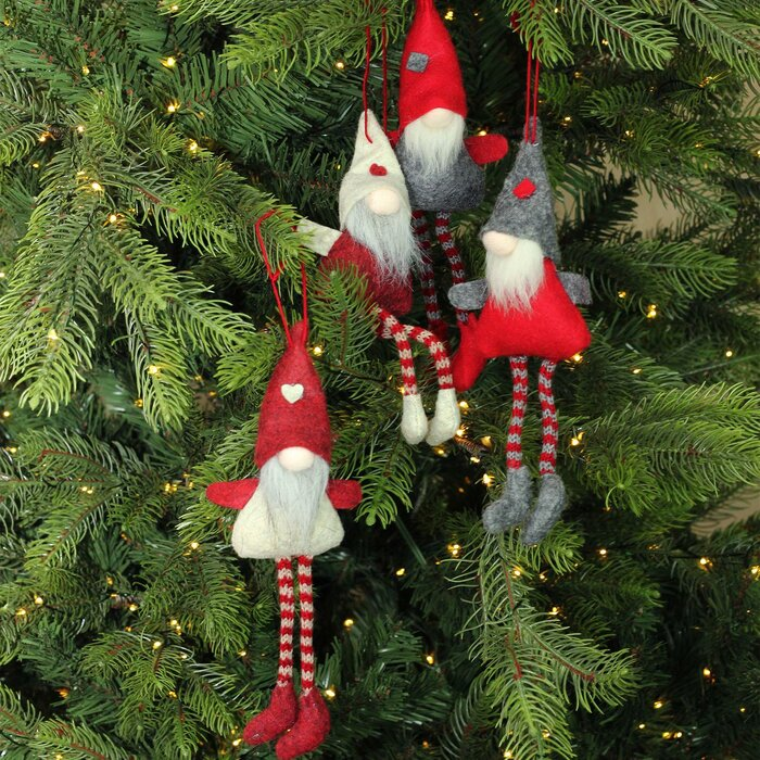 set of 4 plush red grey and beige decorative gnome hanging christmas ornaments 8