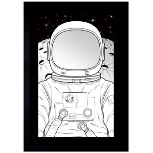Brayden Studio Rectangle Black Astronaut Wall Mirror
