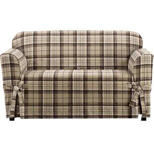 Highland Plaid Box Cushion Loveseat Slipcover