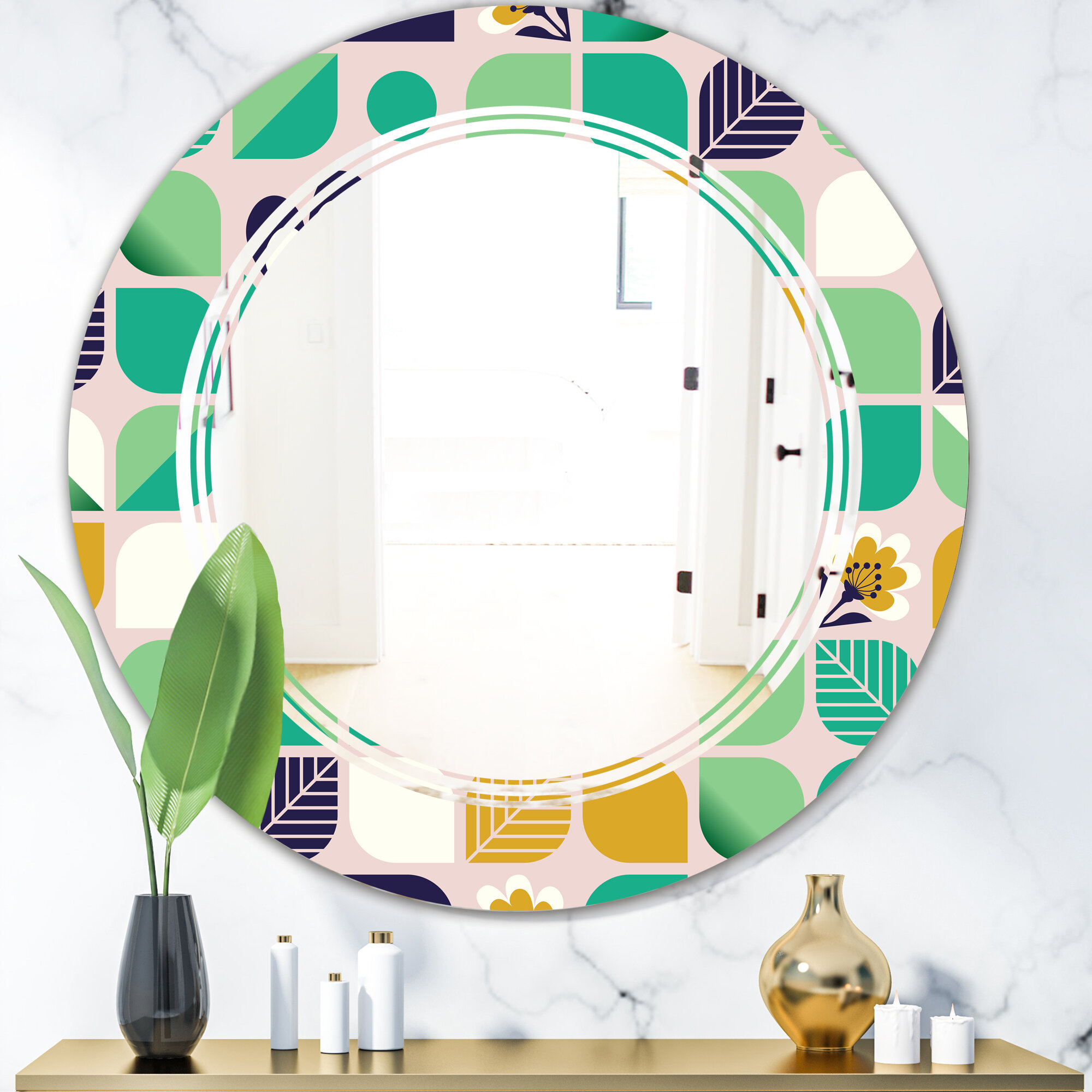 East Urban Home Triple C Geometric Pattern With Leaves And Flowers Cottage Americana Frameless Wall Mirror Wayfair