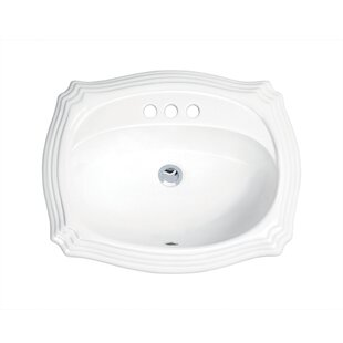 Best Price Top Mount Vitreous China Oval Drop-In Bathroom Sink with Overflow By Soleil